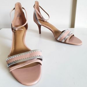 COACH womens 6.5cm heels size 7.5 maxine strappy tan silver sandals leather